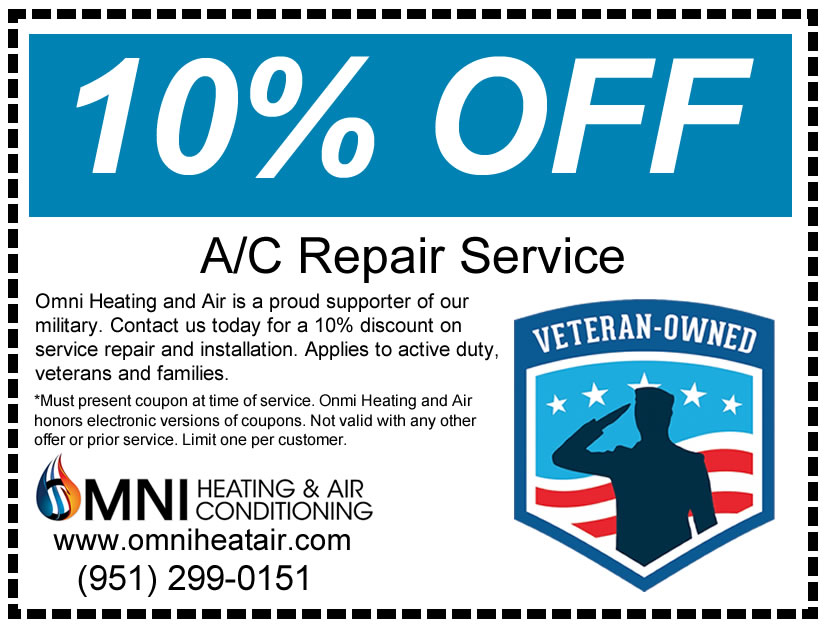 Get 10% off an AC Repair Service with this coupon if you are a veteran