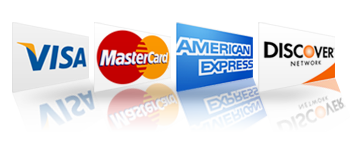 We accept Visa, Mastercard, American Express, and Discover cards.